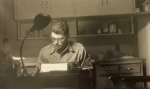 Allen Ginsberg at his typewriter