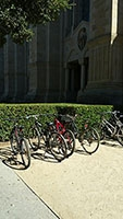 Bike rack in front of Green Library main quad entrance