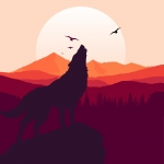 Image of wolf howling in front of sunset, from freepix.com