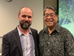 Daniel Hartwig (L) and Rick Yuen, president of the Stanford Historical Society