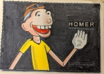 Drawing of 'Bonehead' character with the Homer & Associates logo.