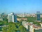 The Istanbul skyline as seen from the Marmara hotel on Taksim Square