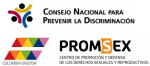 logos for Consejo Nacional para Prevenir la Discrimaction; Colombia Diversa; & PROMSEX