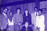Rosa Parks, seated, with residence staff in Arroyo House lounge, Stanford University, Feb 18, 1990