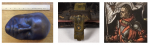 Left, Buckminster Fuller bronze life mask by Ruth Asawa;  Center, Metal clasp on an early printed Book of Hours; Right, Leaded Stained Glass Panel of St. Eustache
