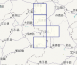Screen shot of an index map of an area in Japan. It shows an underlying map with rectangles overlayed, each of which represents a more detailed map of that area.