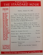 Image of a printed program from a Standard Hour broadcast