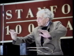 Theremin demonstrating his instrument, Stanford University, 1991