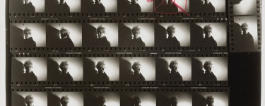 This detail from an Andy Warhol contact sheet is among an archive of 3,600 contact sheets and 130,000 images available through Stanford Libraries. Andy Warhol (U.S.A., 1928–1987), Detail from Contact Sheet [Photo shoot with Andy Warhol with shadow], 1986. Gelatin silver print. Gift of The Andy Warhol Foundation for the Visual Arts, Inc., 2014.43.2893. (Image credit: © The Andy Warhol Foundation for the Visual Arts, Inc.)