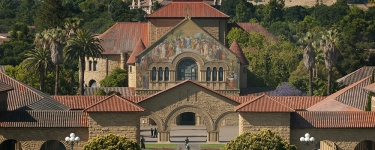 Stanford University, front entrance, Quad, Memorial Church.Credit: Linda A. Cicero / Stanford News Service