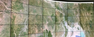 Planet's monthly mosaic, centered over Bangladesh, projected at full resolution at the Hive on the Stanford campus.