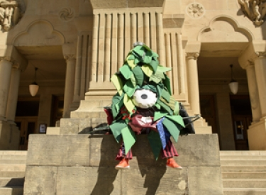 The Stanford Tree outside of Green Library
