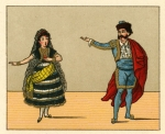 Chromolithographic plate from Opern-Tÿpen (Berlin: G. Kölle, 1882) depicting Carmen and Escamillo in Act IV of Bizet's Carmen.
