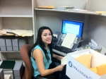 Library intern Jazmin Contreras at work