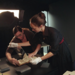 Bridget Whearty and Astrid Smith in the digitization lab