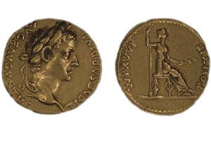 Aureus of Tiberius (14-37 CE), R.M. Row Collection of Roman Imperial Coins, no. 7.06, Stanford Libraries.