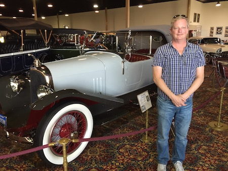 Ray Heigemeir with a 1923 Voisin once belonging to Rudolph Valentino