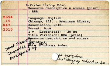 RDA Catalog card
