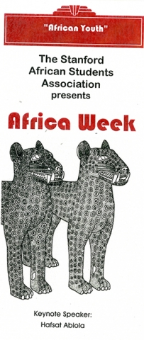 SASA's 1997 Africa Week keynote speaker was Hafsat Abiola, a Nigerian democracy, youth leadership activist.