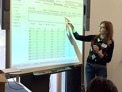 Amy teaching SQL workshop, photo by Julie Sweetkind-Singer