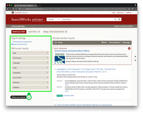 SearchWorks Articles+ controls to refine your search