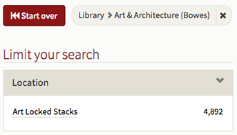 Location facet showing Art Locked Stacks