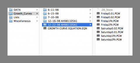 Mac finder window showing spreadsheet and equation files with unrecognized file types, screen shot by Amy Hodge