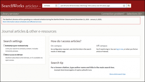 Articles+ subject search