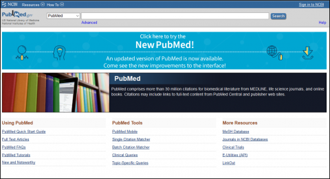 PubMed search page