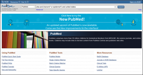 PubMed subject search