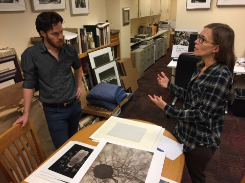 October 2018. Prof. Kessler and TA Henry Rownd discuss selections from the Michael Bishop photography collection and develop presentation strategies for the class viewing.