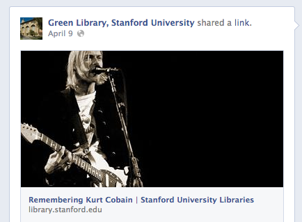 Facebook post showing a recent blog entry from the library website