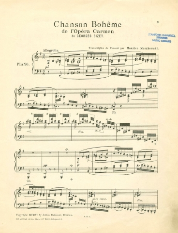 The first page of Chanson Boheme, a piano arrangement on themes from La Boheme