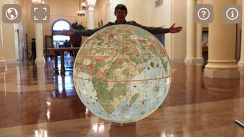 Chet Van Duzer Holding up the Urbano Monte Globe virtually