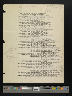 "The first draft of ""Howl"" by Allen Ginsberg."