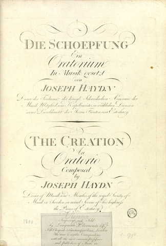 Die Schoepfung (The Creation), German and English. 1800.