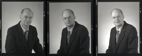 Cropped contact sheet of photos of Don Knuth.
