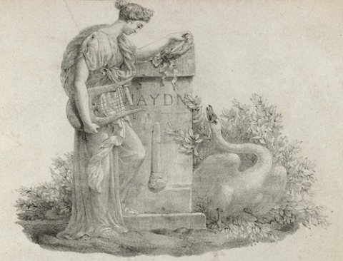 Lithograph showing Erato mourning Haydn