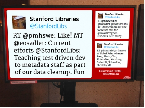 Digital Display sign in Green Library - Twitter feed