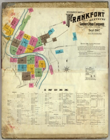 Insurance maps of Frankfort, Franklin Co., Kentucky [Sheet 1: Index]. Sanborn Map Company, 1907