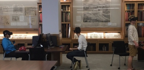 Stanford Master of Fine Arts students used an 18th-century century map of Paris to create a virtual reality film that is viewable on one of the Rumsey Map Center's Oculus Rifts.