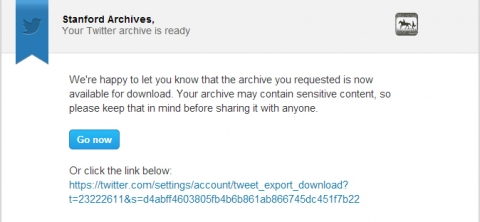 Twitter archive email