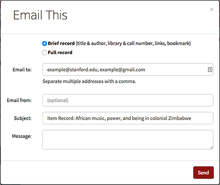 Email feature in SearchWorks