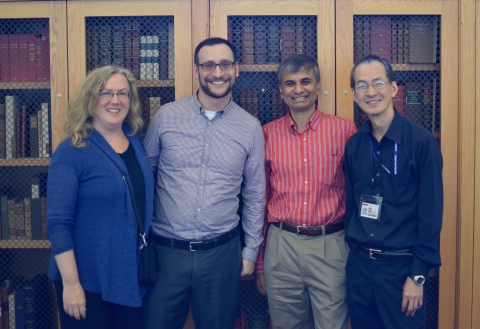 From left, Glynn Edwards, Josh Schneider, Sudheendra Hangal, and Peter Chan