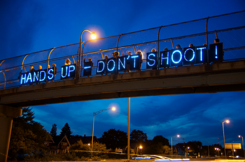 Protesters demonstrate against the shooting of Michael Brown