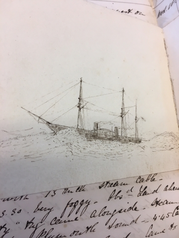 Drawing of a ship by James B. Hay