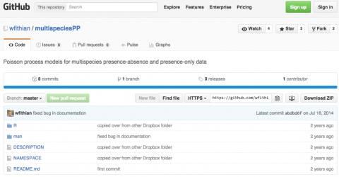 Screen shot of GitHub repository
