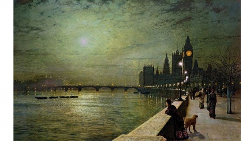 moonlight over river Thames