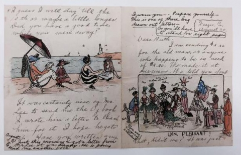 "Image of an illustrated letter from by Marjorie ""Marge"" Henderson Buell to Ruth Plumly Thompson"
