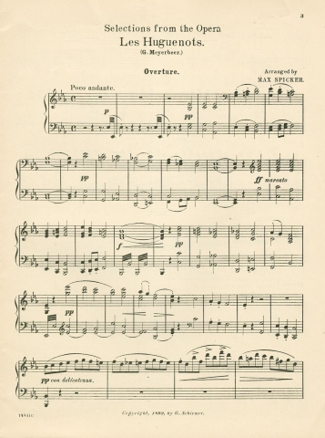 Page 1 of Meyerbeer's Les Huguenots piano score
